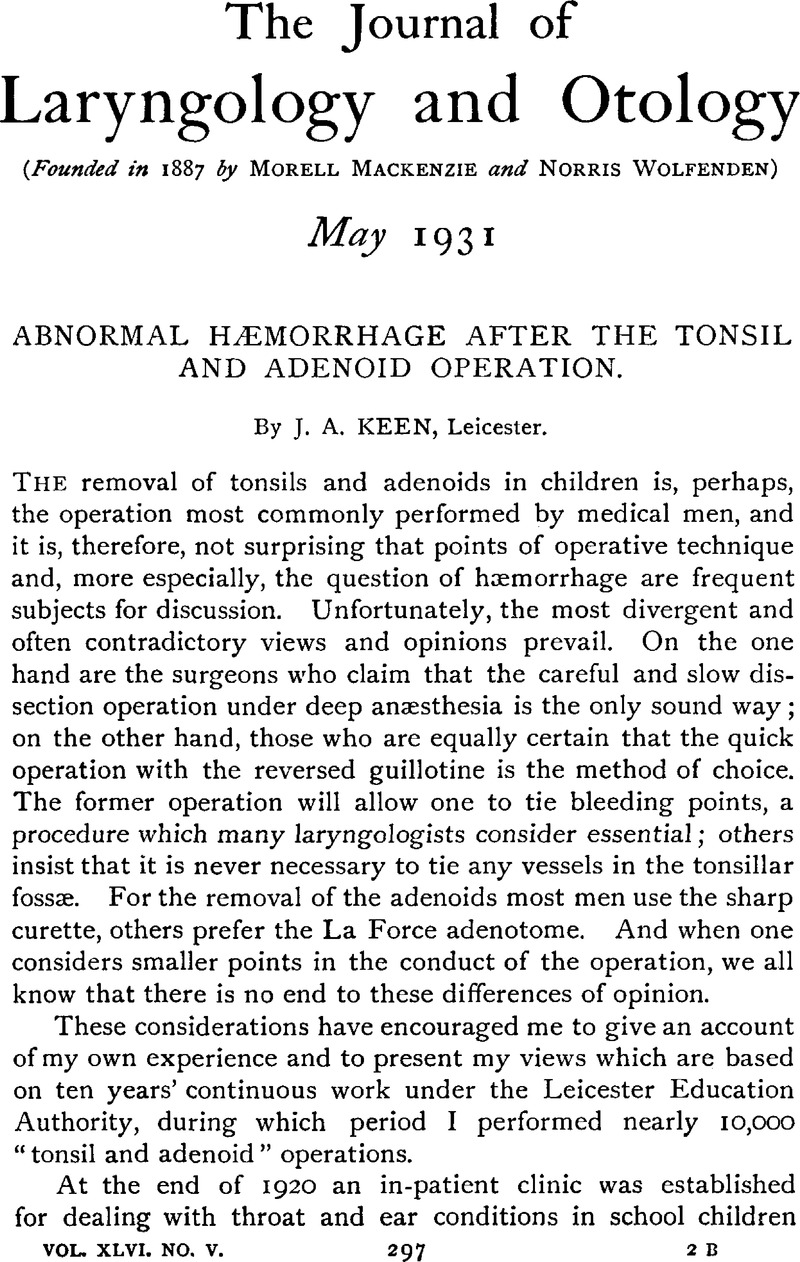 abnormal hæmorrhage after the tonsil and adenoid operation the