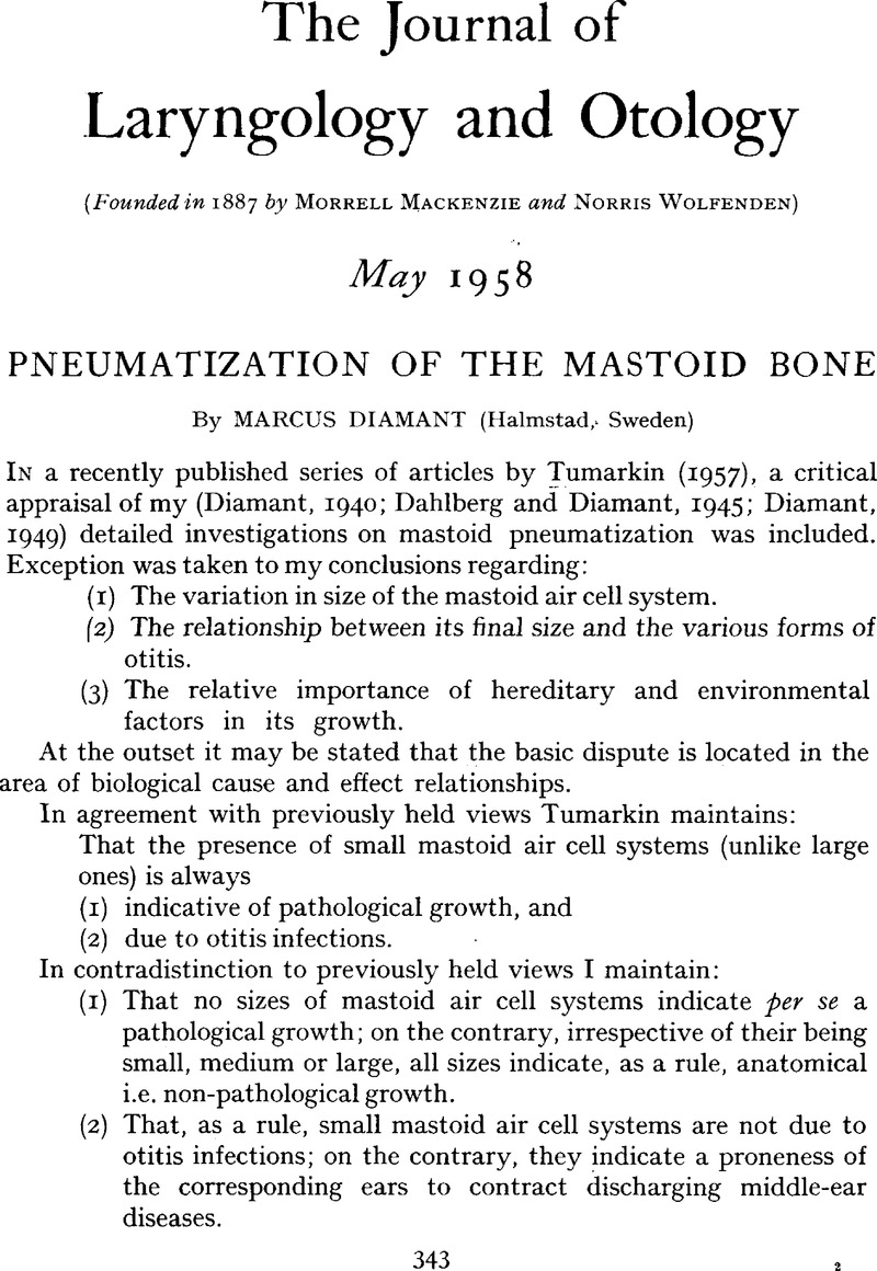 Pneumatization Of The Mastoid Bone The Journal Of Laryngology