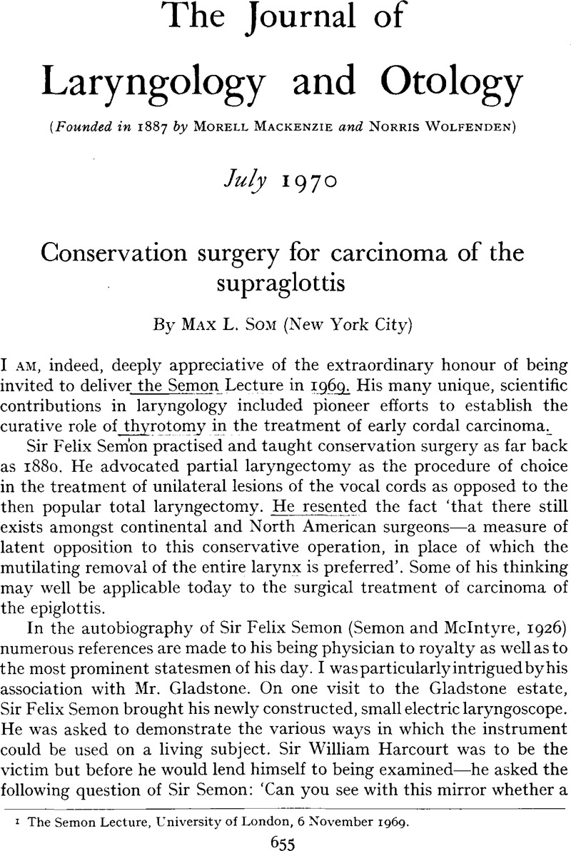 Conservation surgery for carcinoma of the supraglottis | The