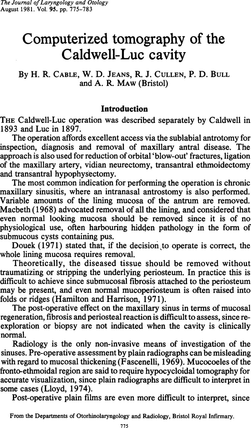 Computerized tomography of the Caldwell-Luc cavity | The