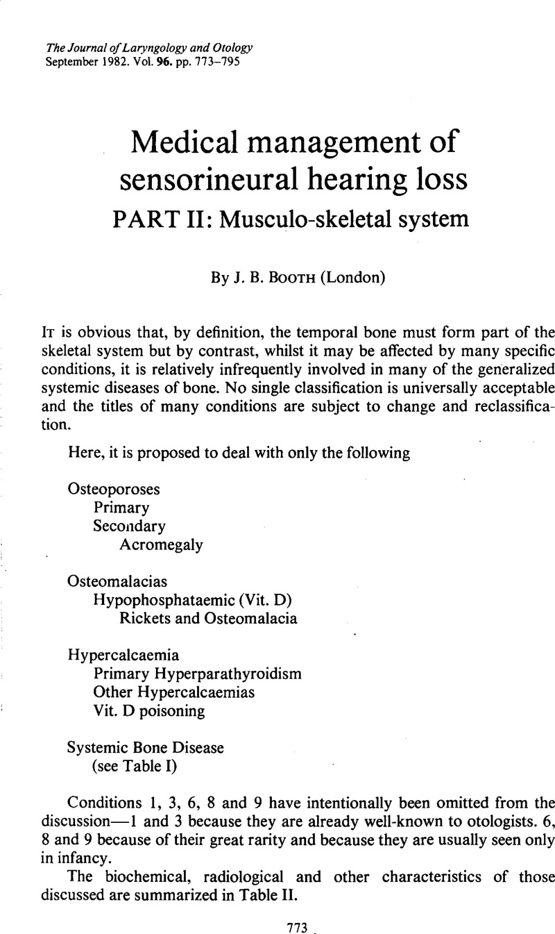 Medical management of sensorineural hearing loss PART II: Musculo-skeletal  system