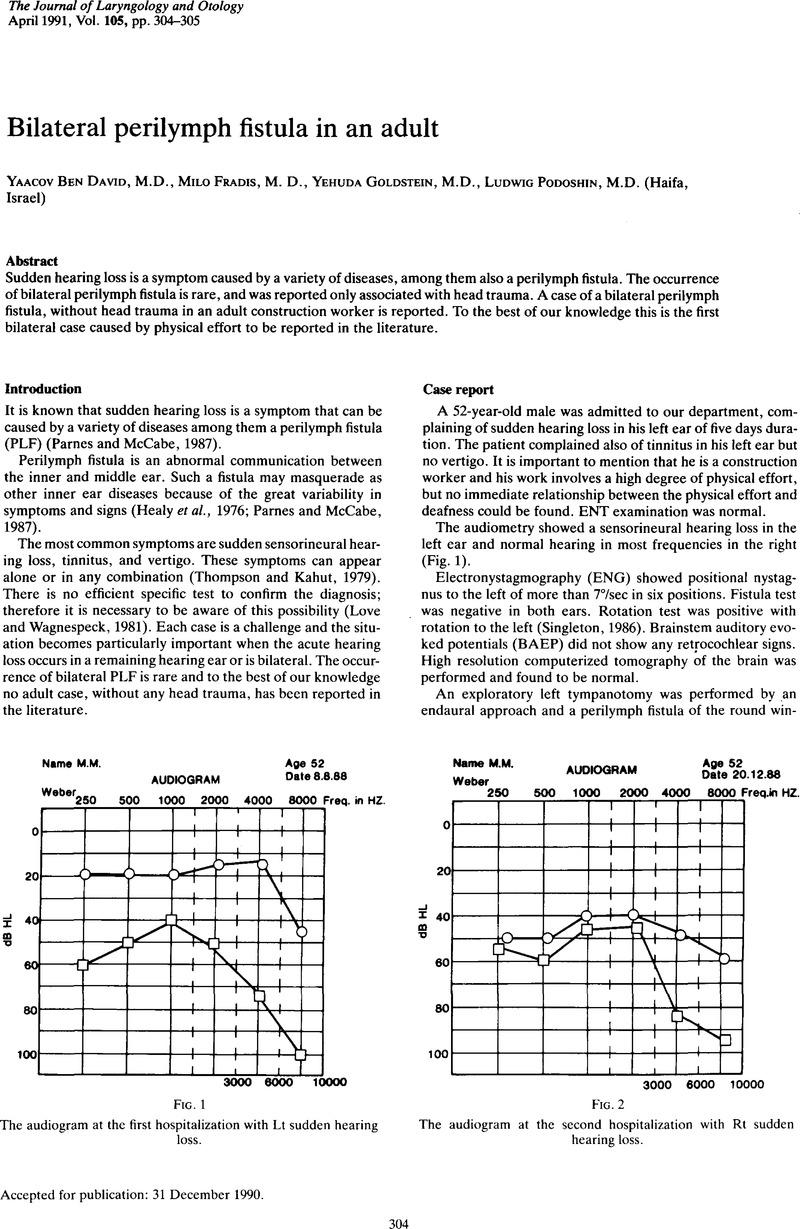 Bilateral Perilymph Fistula In An Adult