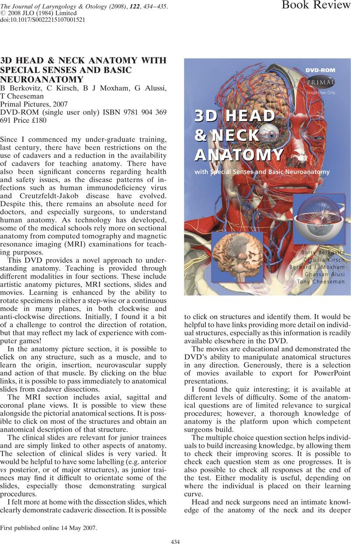 3D HEAD & NECK ANATOMY WITH SPECIAL SENSES AND BASIC NEUROANATOMY B ...