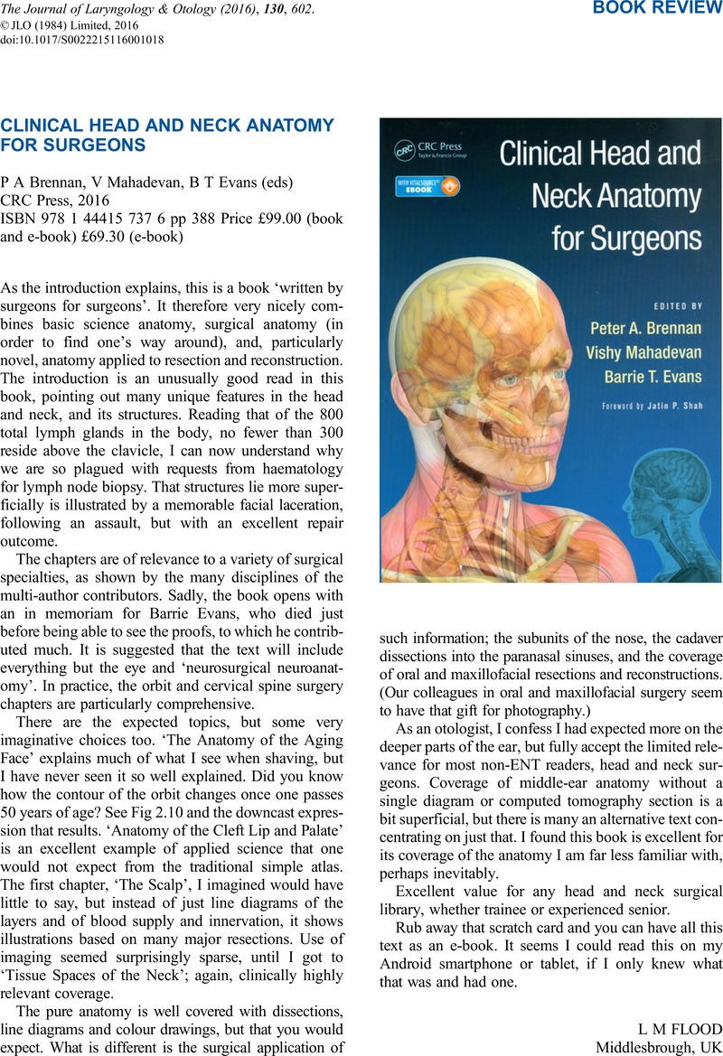 CLINICAL HEAD AND NECK ANATOMY FOR SURGEONS P A Brennan , V ...