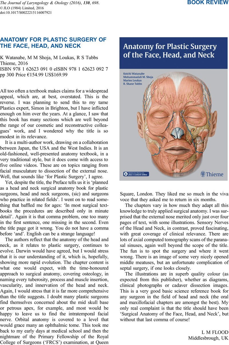 Anatomy For Plastic Surgery Of The Face Head And Neckk Watanabe
