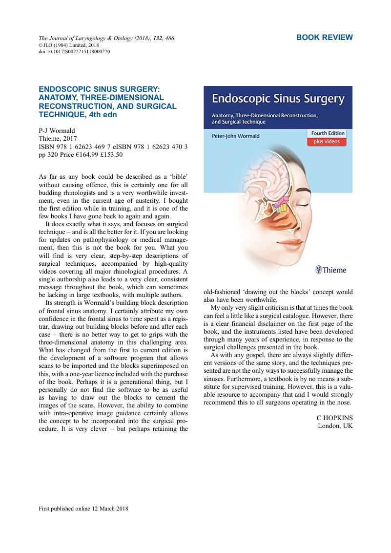 Endoscopic Sinus Surgery Anatomy Three Dimensional Reconstruction