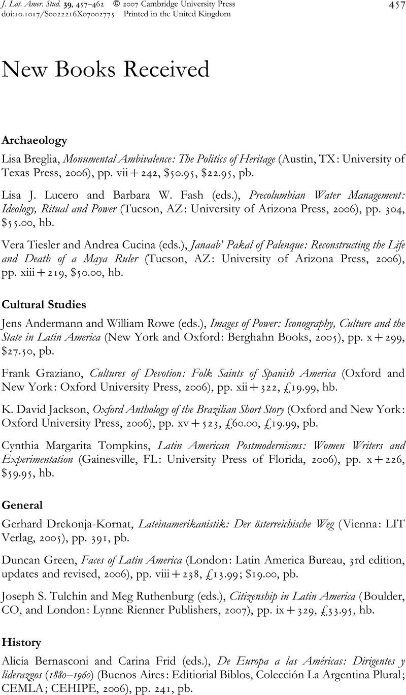 Books Received | Journal of Latin American Studies