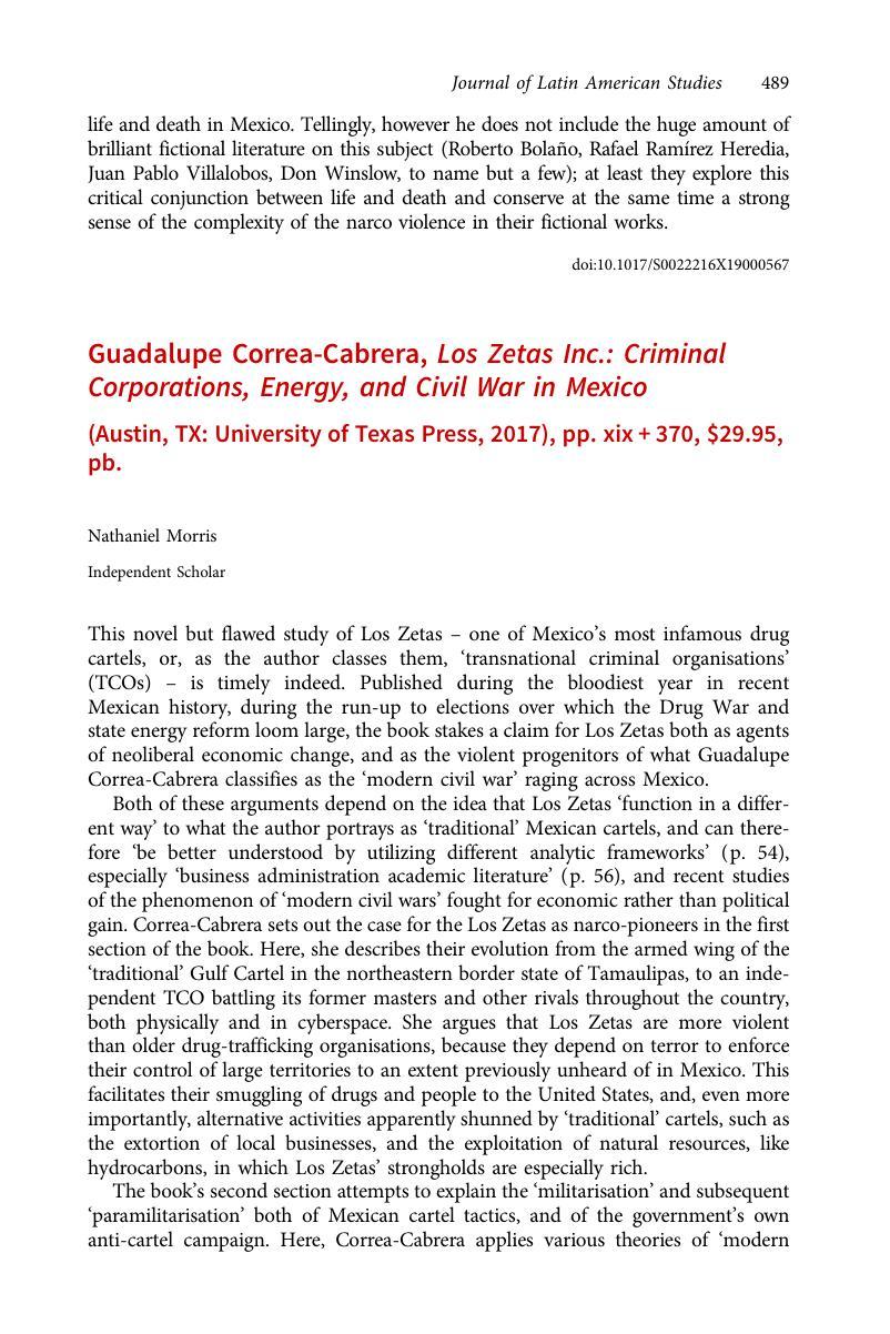 Guadalupe Correa-Cabrera, Los Zetas Inc : Criminal Corporations