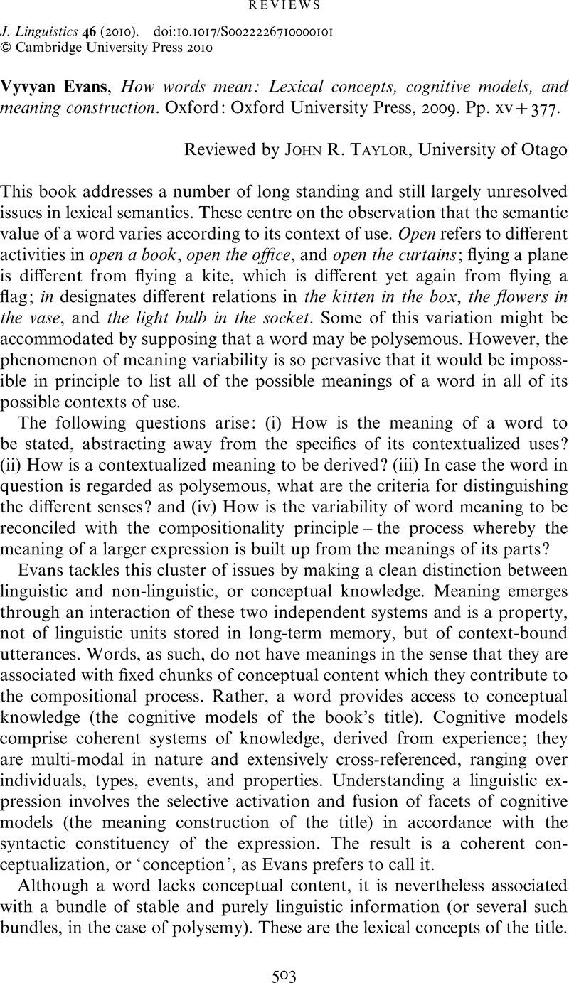 REVIEWS - Vyvyan Evans, How words mean: Lexical concepts, cognitive