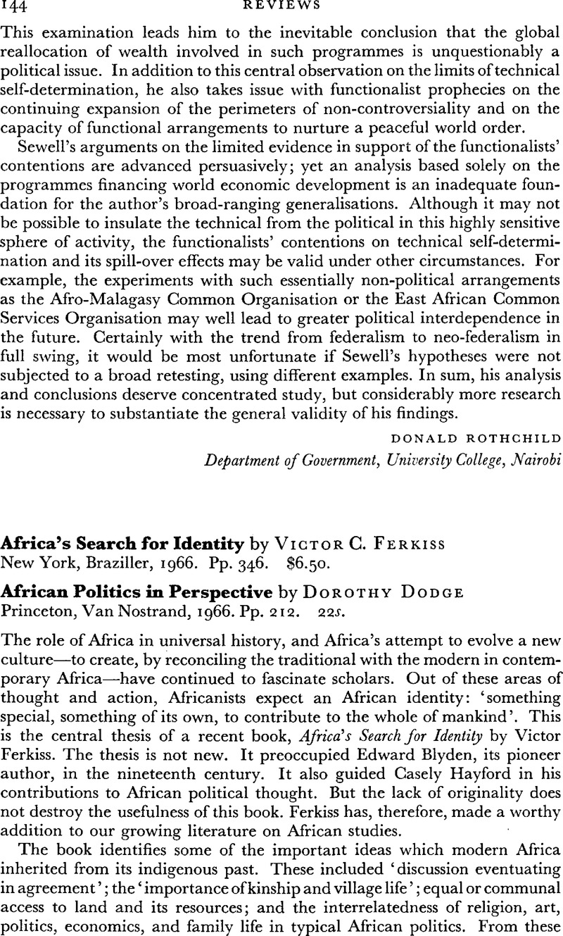 Africa's Search for Identity by Victor C  Ferkiss New York