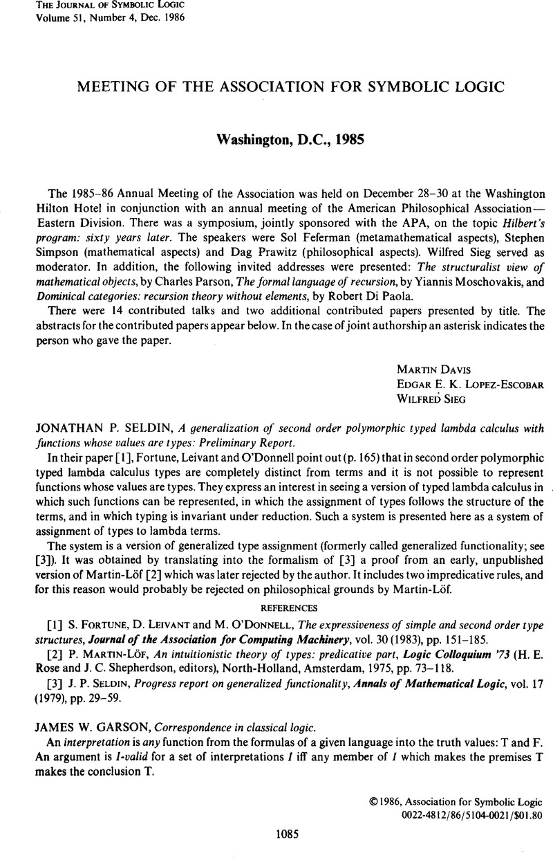 Meeting Of The Association For Symbolic Ldgic Washington Dc 1985