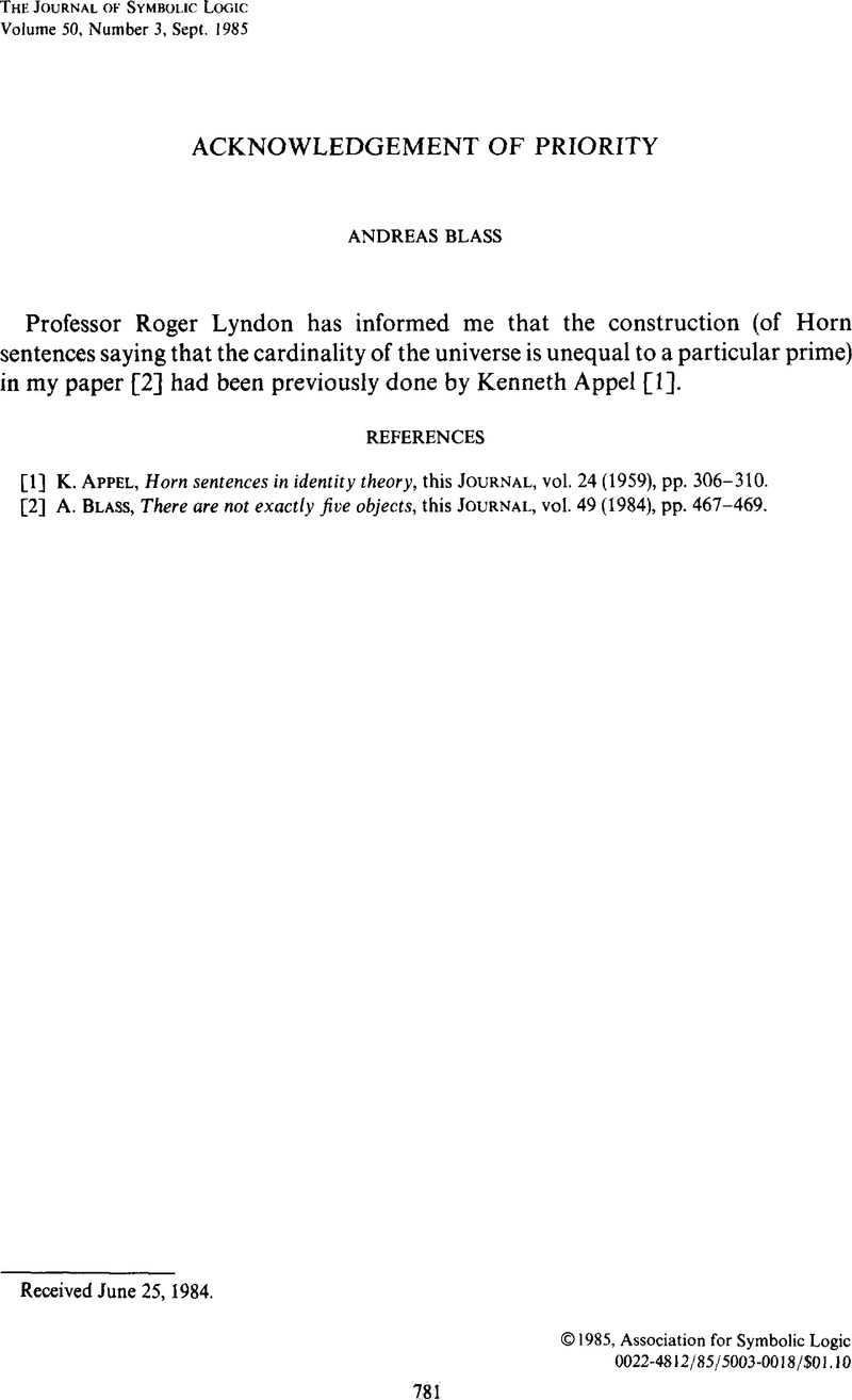 Acknowledgement Of Priority The Journal Of Symbolic Logic