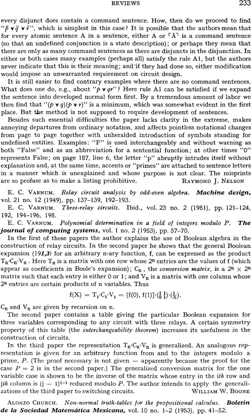 E C Varnum Relay Circuit Analysis By Odd Even Algebra Machine Design Copyright