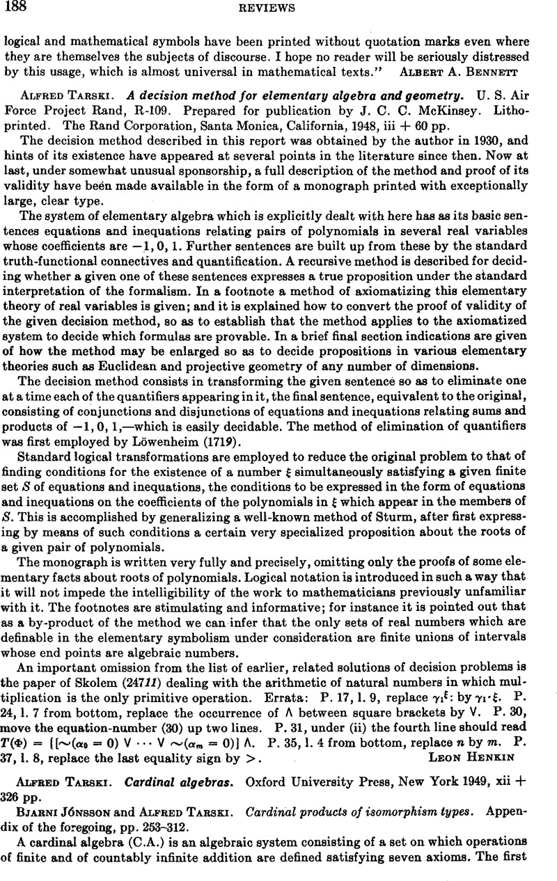 Alfred Tarski A Decision Method For Elementary Algebra And Geometry