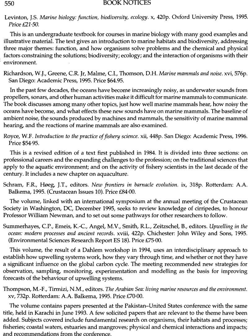 J.S. Levinton Marine biology: function, biodiversity, ecology, x ...