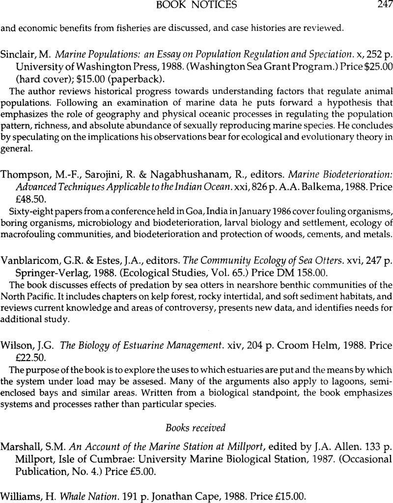 M Sinclair Marine Populations An Essay On Population Regulation And Speciation X 252 P University Of Washington Press 1988 Washington Sea Grant Program Price 15 00 Paperback Journal Of The Marine Biological