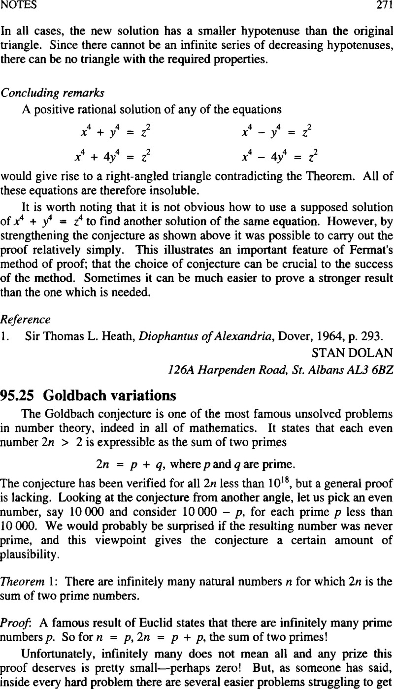 95 25 Goldbach variations | The Mathematical Gazette
