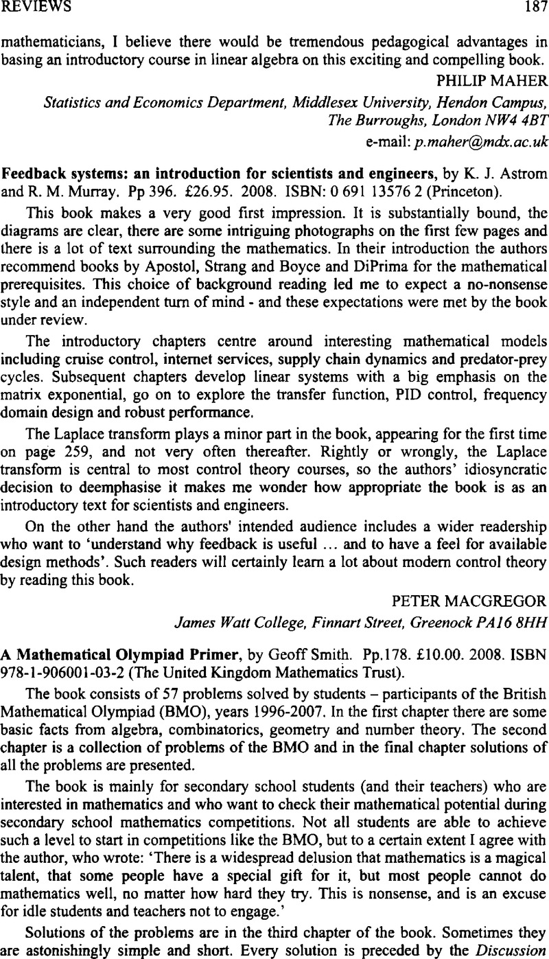 Reviews - A Mathematical Olympiad Primer, by Geoff Smith  Pp 178