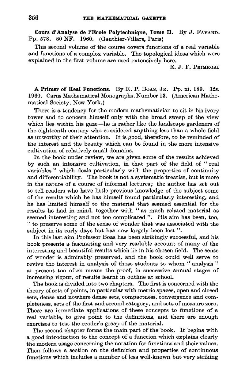 A Primer Of Real Functions By R P Boasjr Pp Xi 189 32s 1960 Carus Mathematical Monographs Number 13 American Mathematical Society New York The Mathematical Gazette Cambridge Core