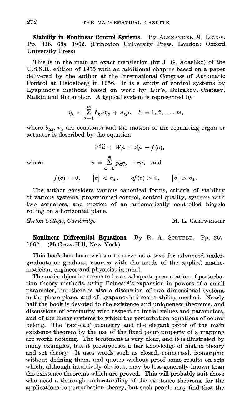 nonlinear differential equations. by r. a. struble. pp. 267 1962