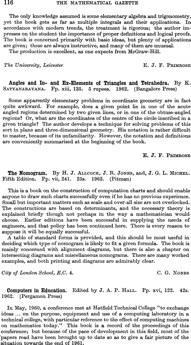 Computers In Education Edited By J A P Hall Pp Xvi 122 42s 1962 Pergamon Press The Mathematical Gazette Cambridge Core
