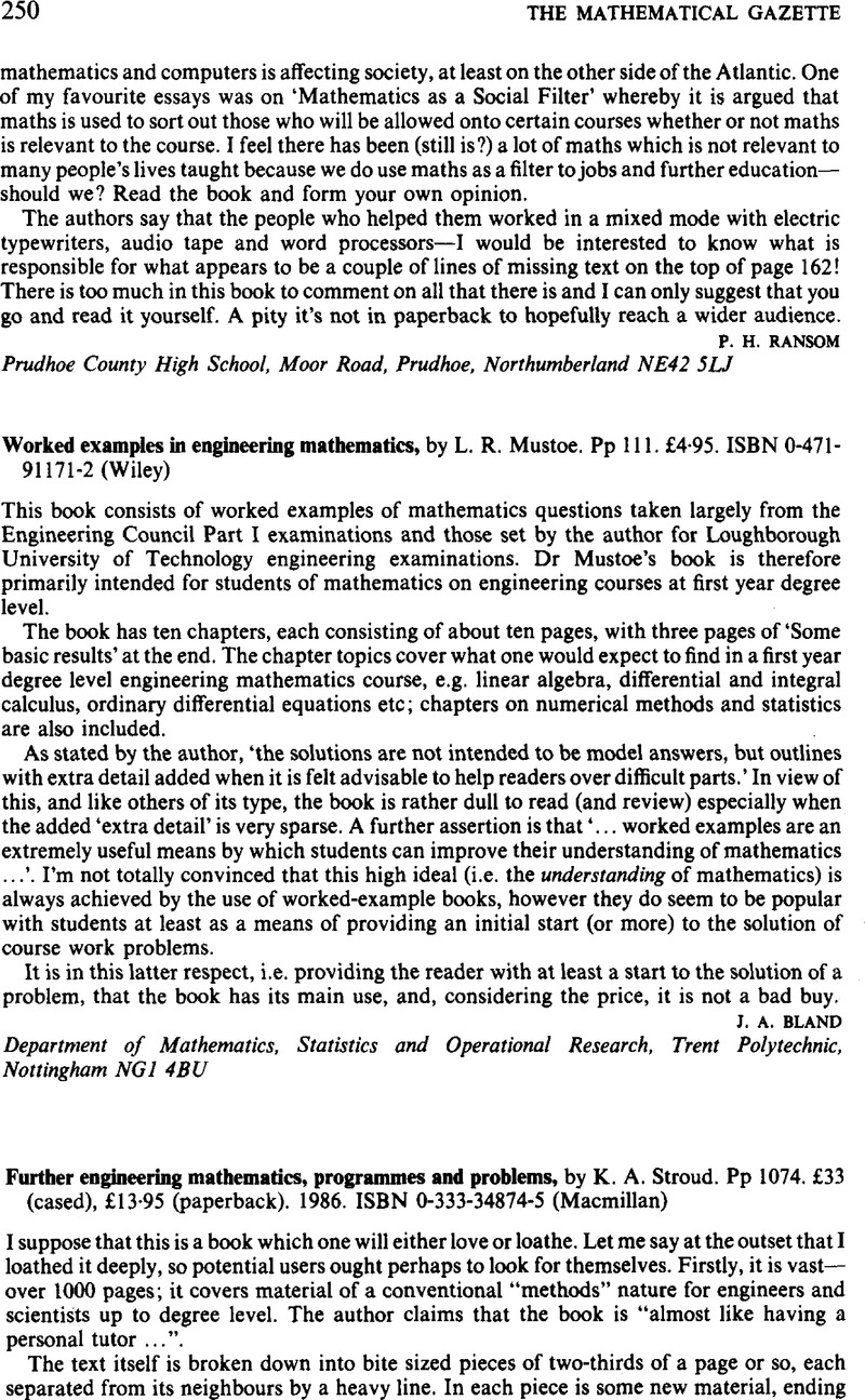 Further engineering mathematics, programmes and problems, by K. A. ...