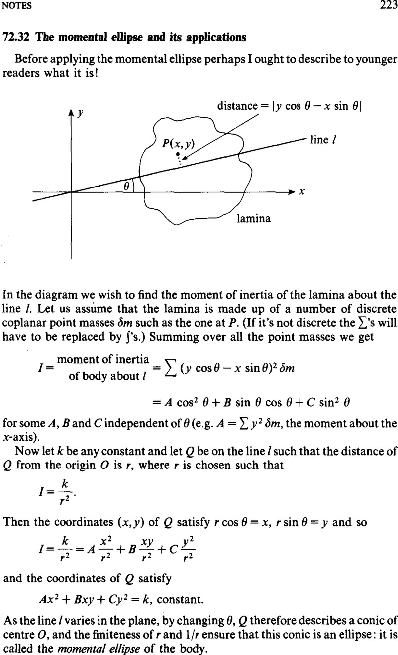 72 32 The momental ellipse and its applications | The