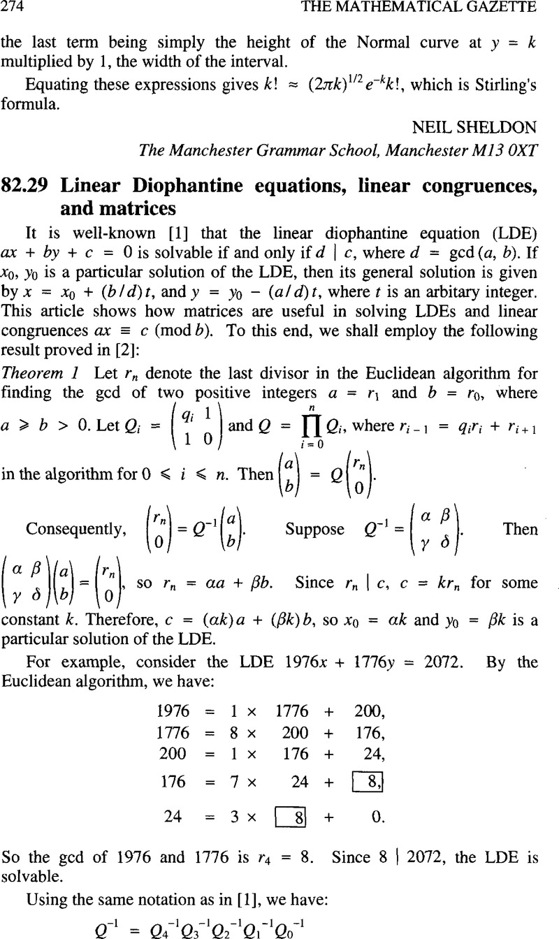 82 29 Linear Diophantine equations, linear congruences, and