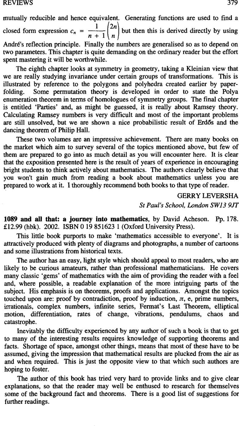 1089 And All That A Journey Into Mathematics By David Acheson Pp 178 12 99 Hbk 2002 Isbn 0 19 851623 1 Oxford University Press The Mathematical Gazette Cambridge Core