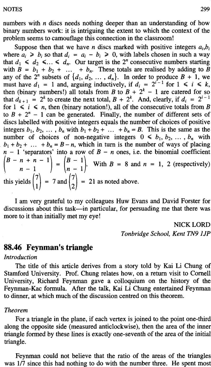 88 46 Feynman's triangle   The Mathematical Gazette