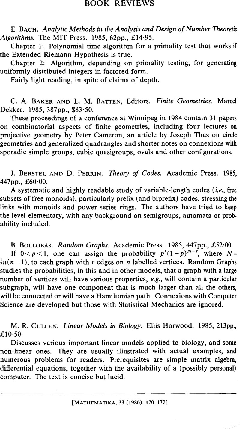 Book Reviews - E  Bach  Analytic Methods in the Analysis and Design