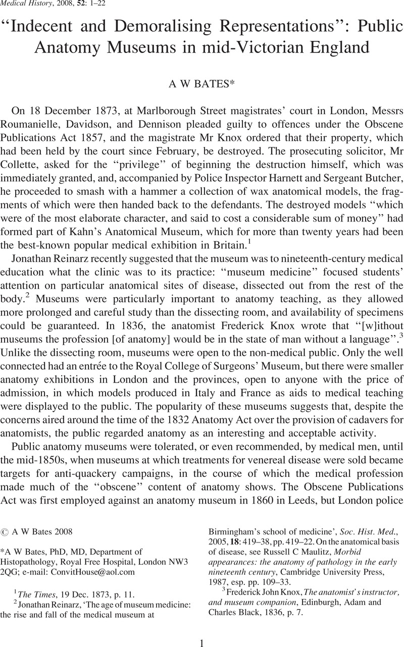 """Indecent and Demoralising Representations"""": Public Anatomy Museums ..."""