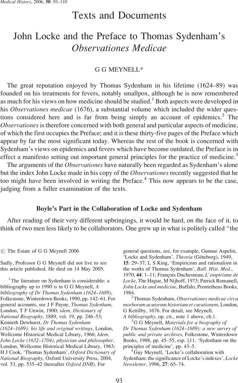 John Locke And The Preface To Thomas Sydenhams Observationes Medicae