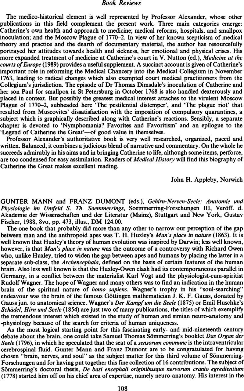 Gunter Mann and Franz Dumont (eds.), Gehirn-Nerven-Seele: Anatomie ...
