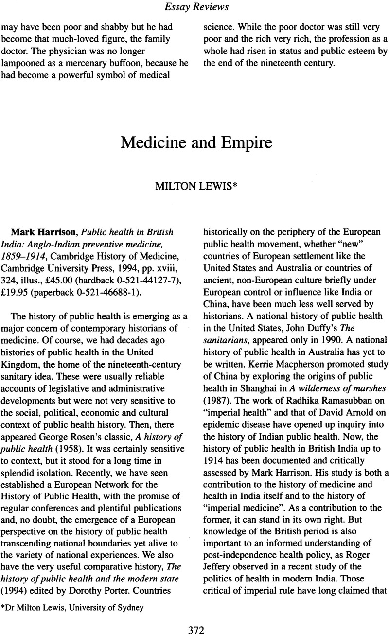 Medicine And Empire Essay Review  Mark Harrison Public Health In  Medicine And Empire Essay Review  Mark Harrison Public Health In British  India Angloindian Preventive Medicine  Cambridge History Of