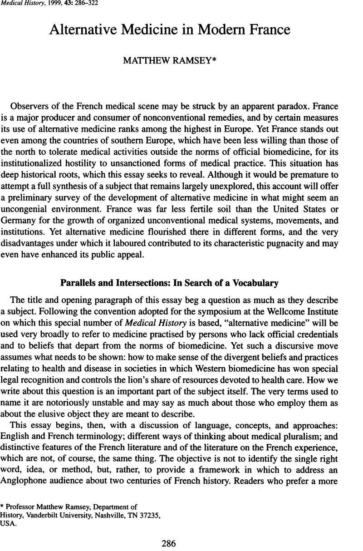 Alternative medicine in modern France | Medical History