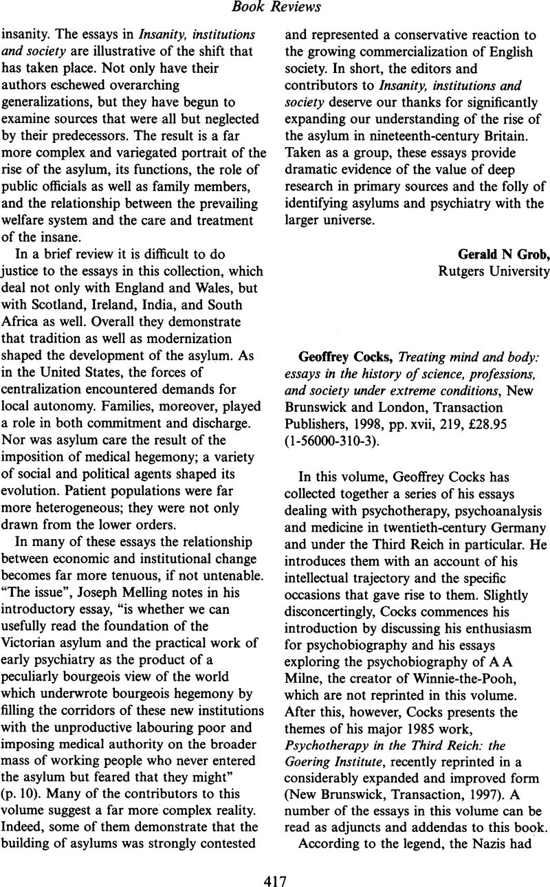 Geoffrey Cocks Treating Mind And Body Essays In The History Of  Geoffrey Cocks Treating Mind And Body Essays In The History Of Science  Professions And Society Under Extreme Conditions New Brunswick And  London  What Is A Thesis Statement In An Essay also Essay Papers Online Essay On Healthy Eating Habits
