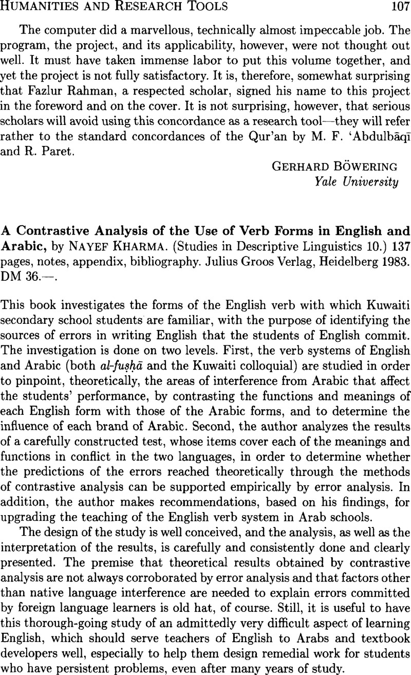 A Contrastive Analysis of the Use of Verb Forms in English