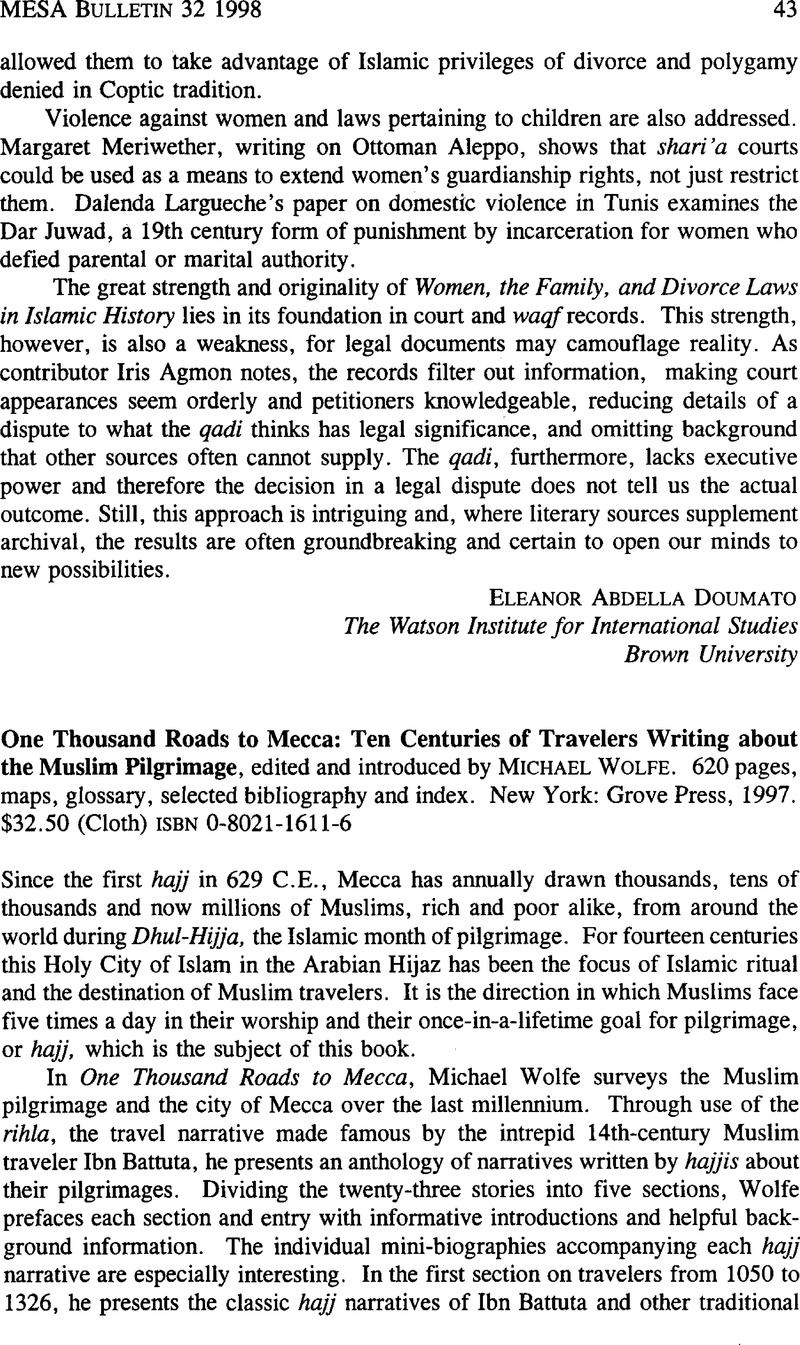 Ten Centuries of Travelers Writing About the Muslim Pilgrimage One Thousand Roads to Mecca