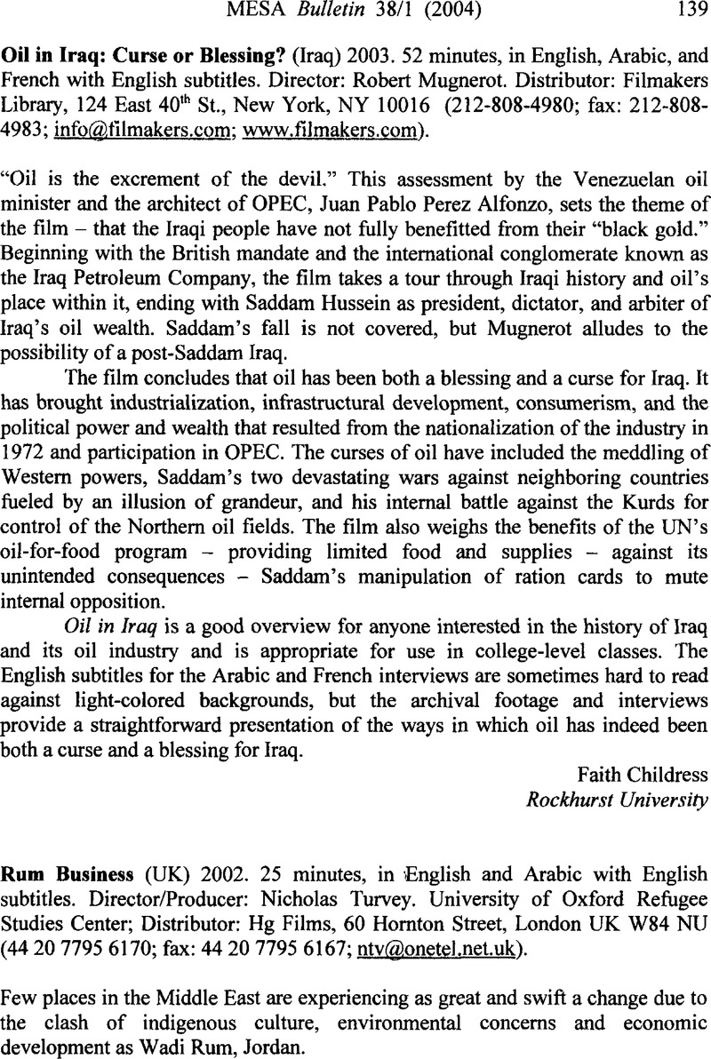 Oil in Iraq: Curse or Blessing? (Iraq) 2003  52 minutes, in English