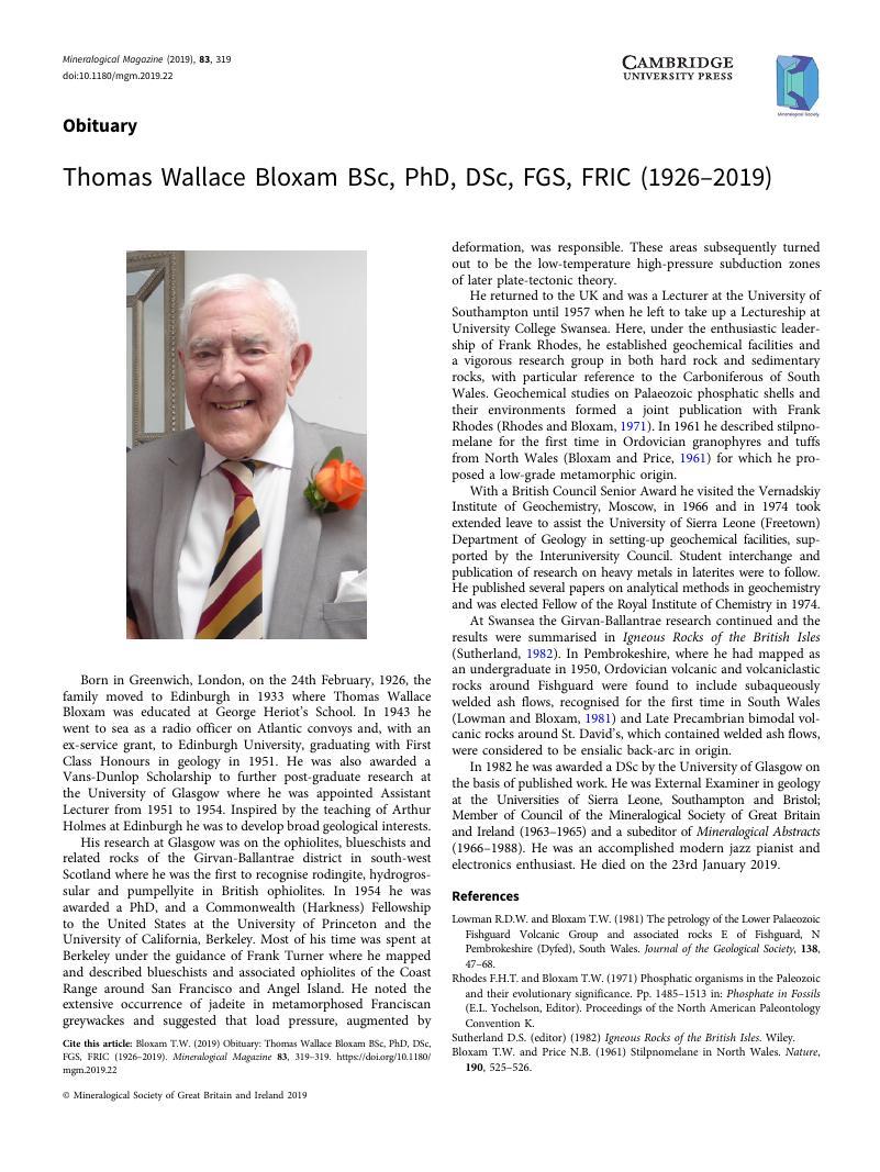 Thomas Wallace Bloxam BSc, PhD, DSc, FGS, FRIC (1926–2019