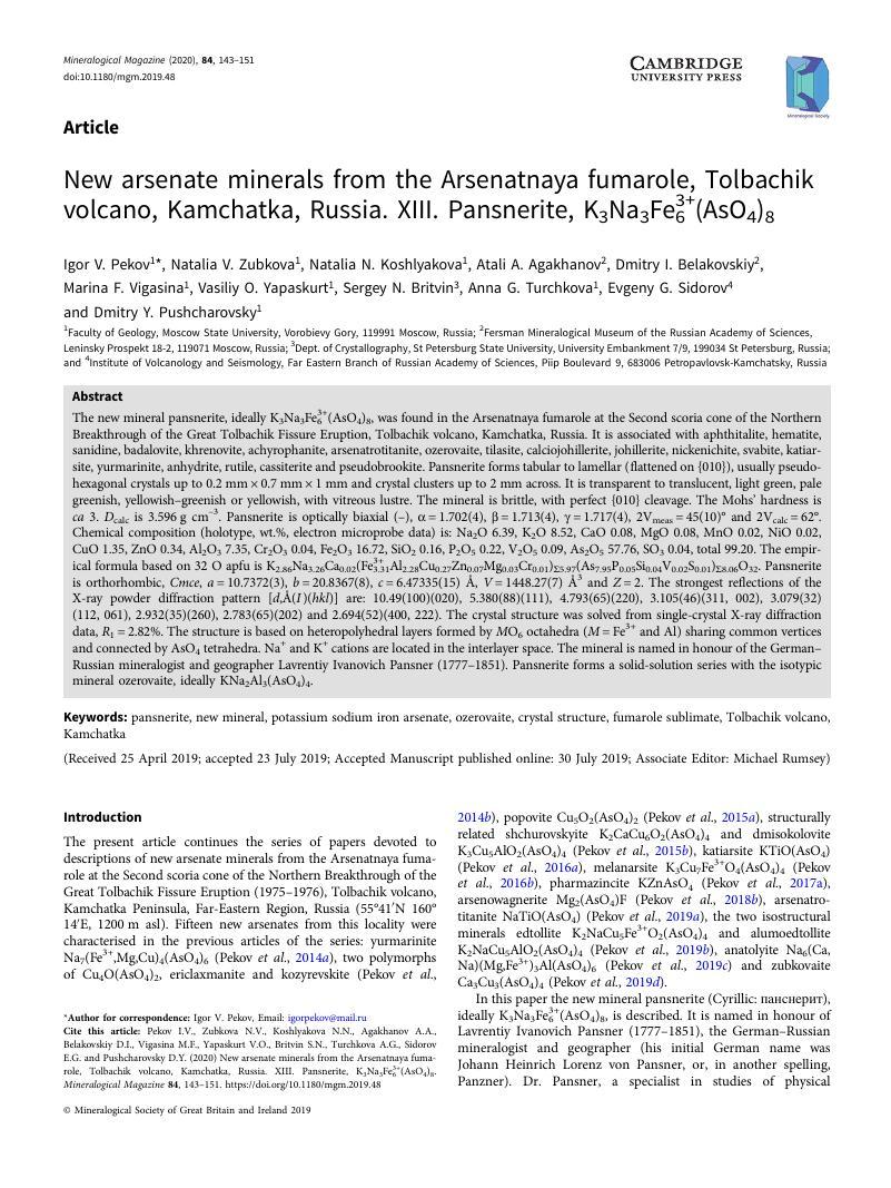 New arsenate minerals from the Arsenatnaya fumarole