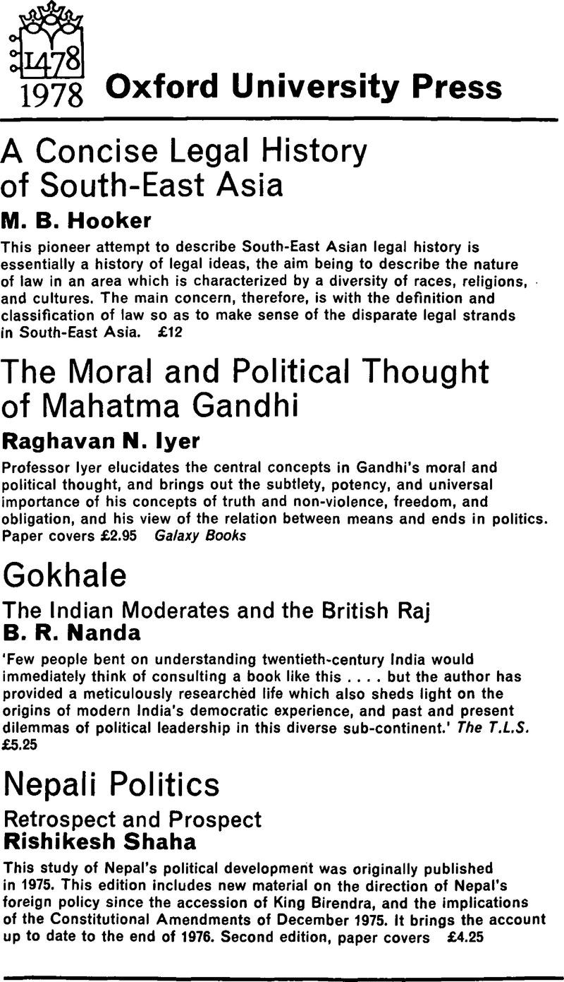 ASS volume 12 issue 4 Back matter   Modern Asian Studies