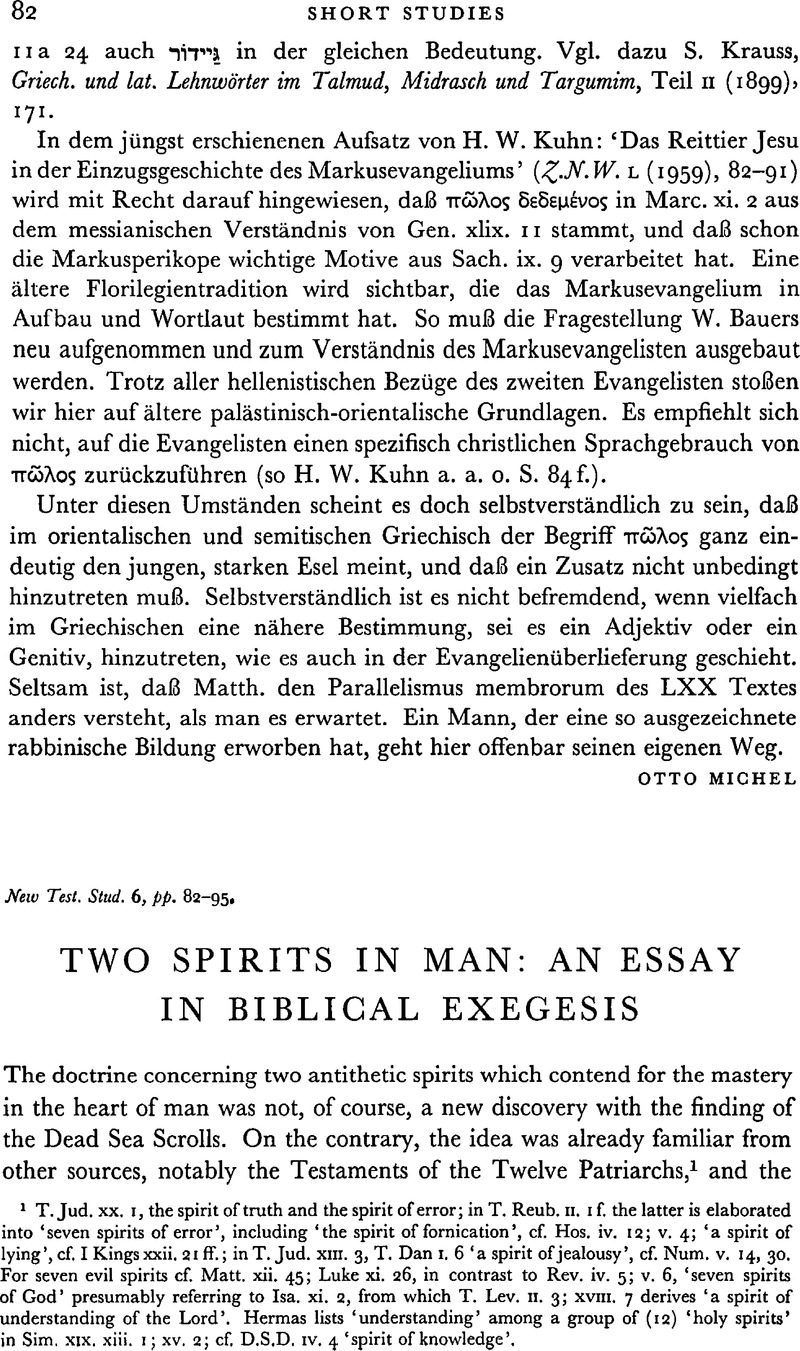 two spirits in man an essay in biblical exegesis new testament  two spirits in man an essay in biblical exegesis