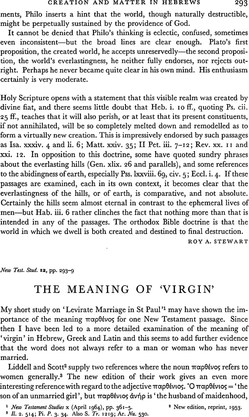The Meaning Of 'Virgin'   New Testament Studies   Cambridge Core