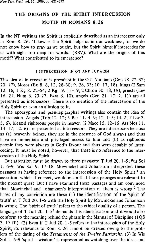 The Origins of the Spirit Intercession Motif in Romans 8 26   New