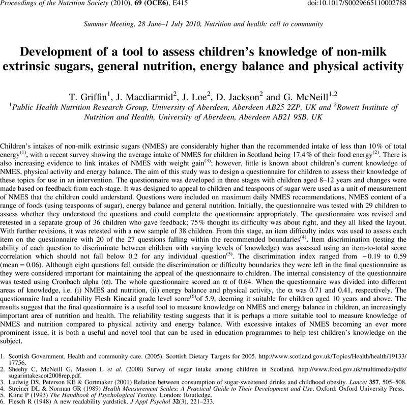 Development of a tool to assess children's knowledge of non