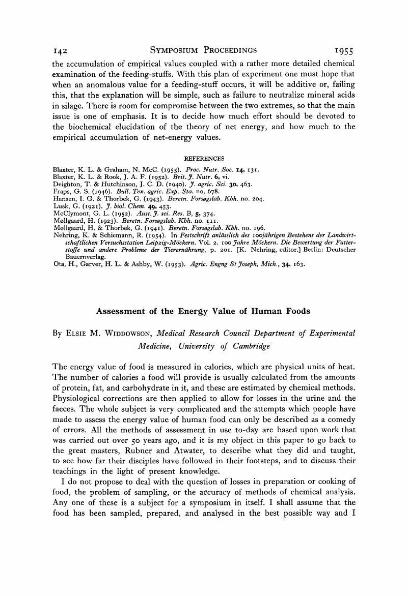 Assessment Of The Energy Value Of Human Foods Proceedings Of The