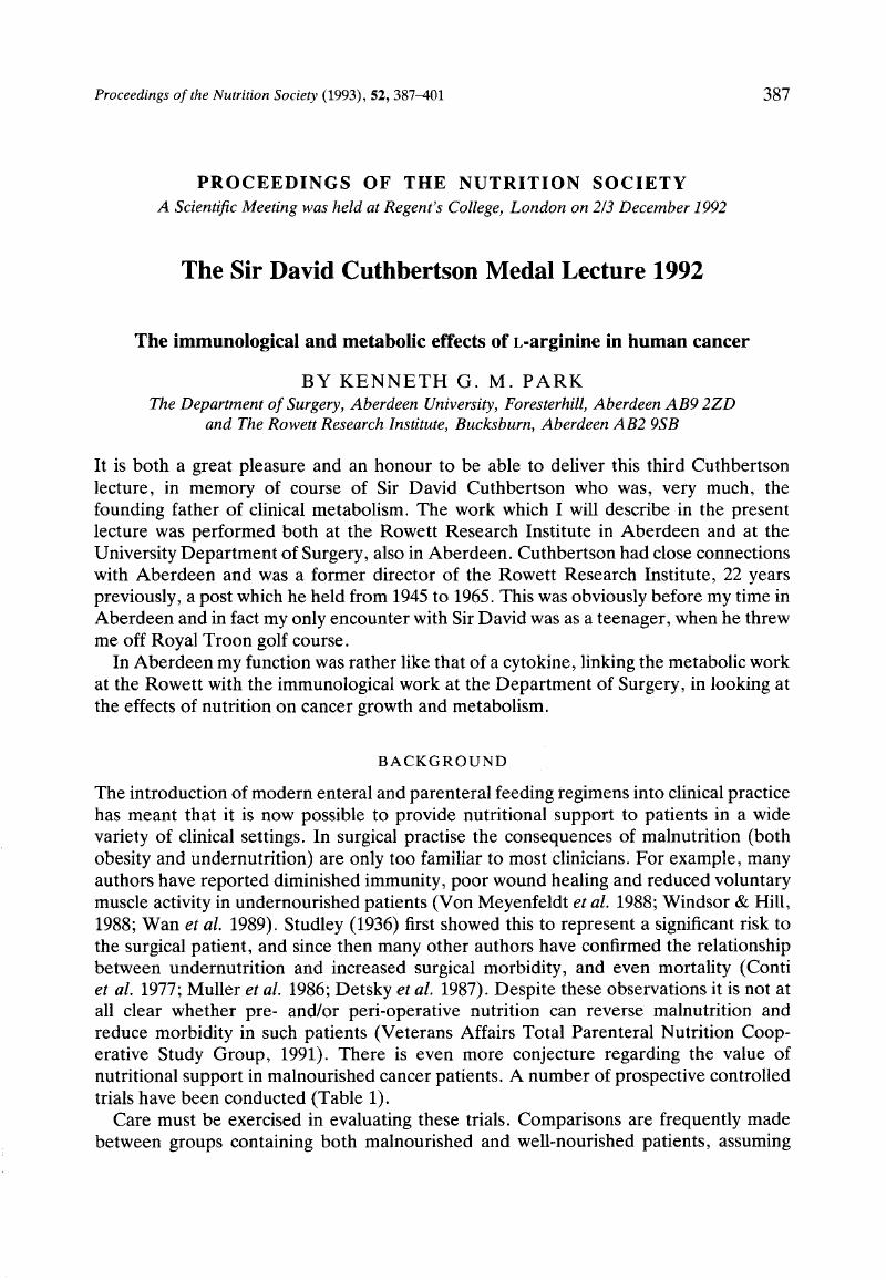 The Sir David Cuthbertson Medal Lecture 1992 | Proceedings