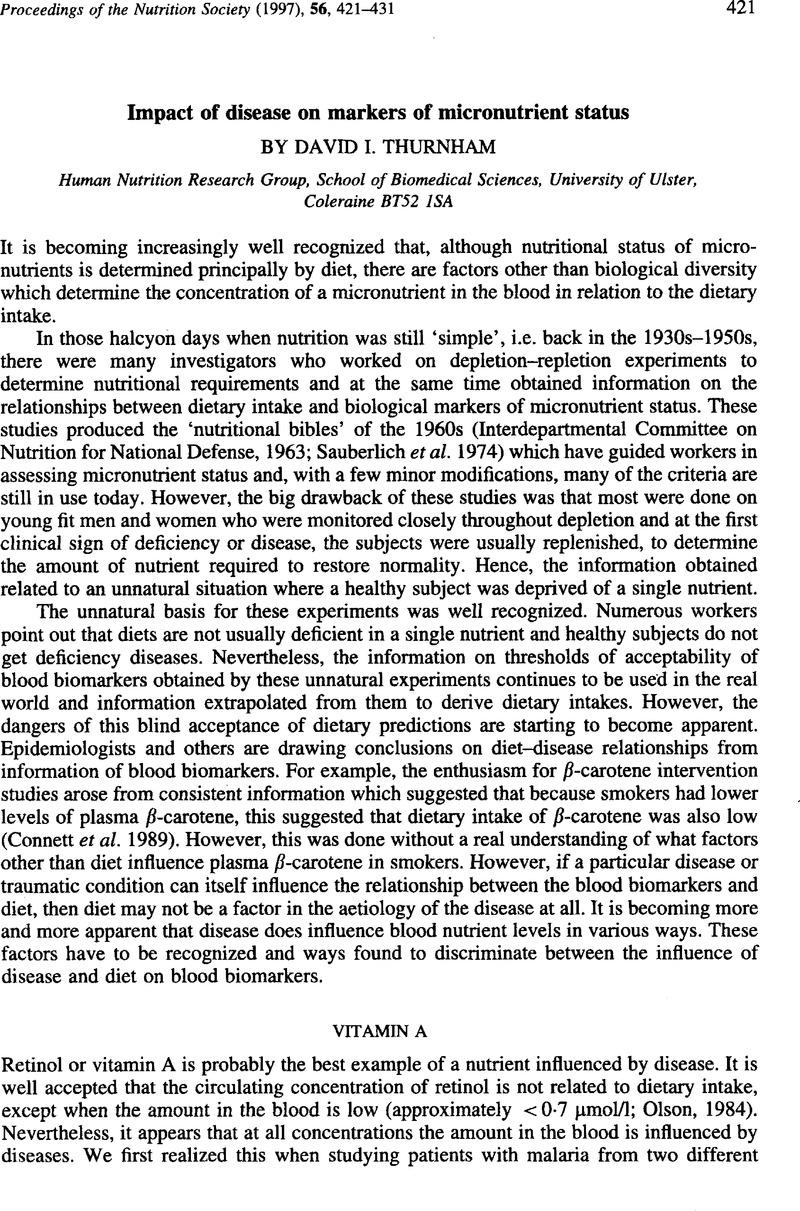 Impact Of Disease On Markers Of Micronutrient Status Proceedings